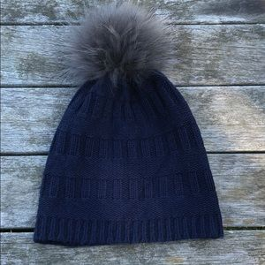 Autumn Cashmere Kids hat with real fox pompom